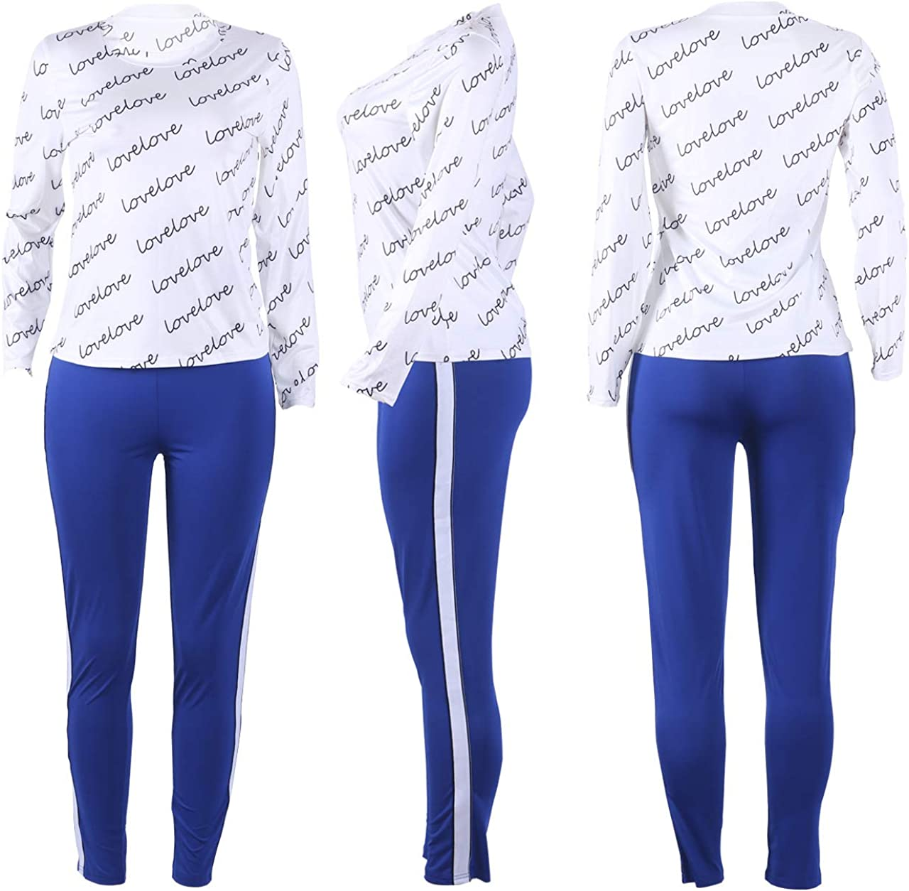 Womens Casual 2 Piece Outfits Long Sleeve Crop Tops Bodycon High Wasit Pants Set Plus Size