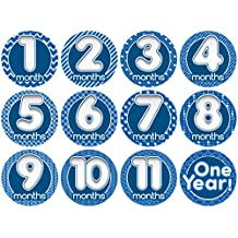 "Original Stick'Nsnap(TM) ""Happy Bubbles"" Blue 12 milestones stickers. 3.25''"