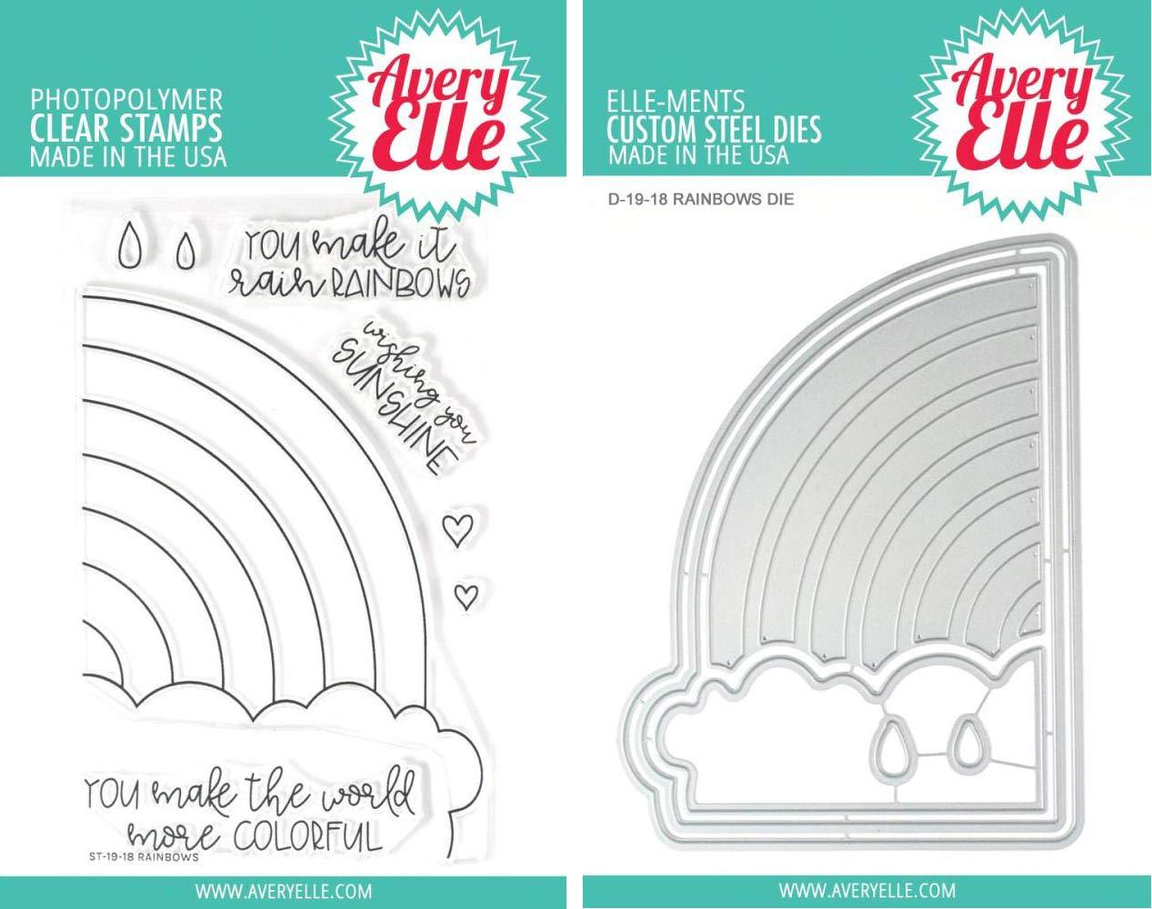 Avery Elle - Rainbows Clear Stamps and Dies Set - 2 Item Bundle
