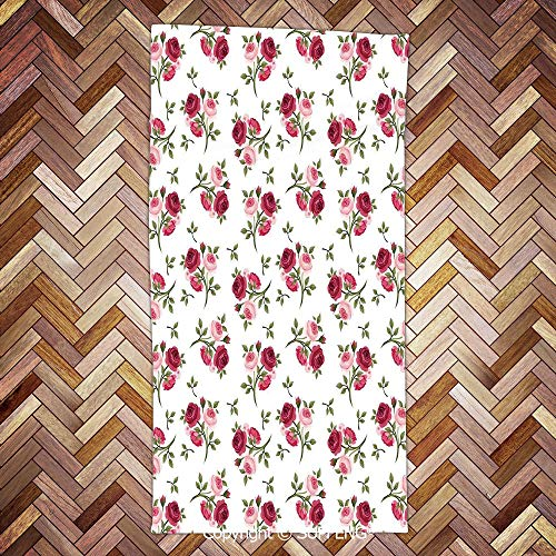 (SUPFENG Soft Towel Pattern with Rose Stems Flowers Garden Classic English Style Design Repeat Art Decorative for Bathroom, Hotel, Gym and Spa/3d Printing/Water Absorption/Multipurpose)