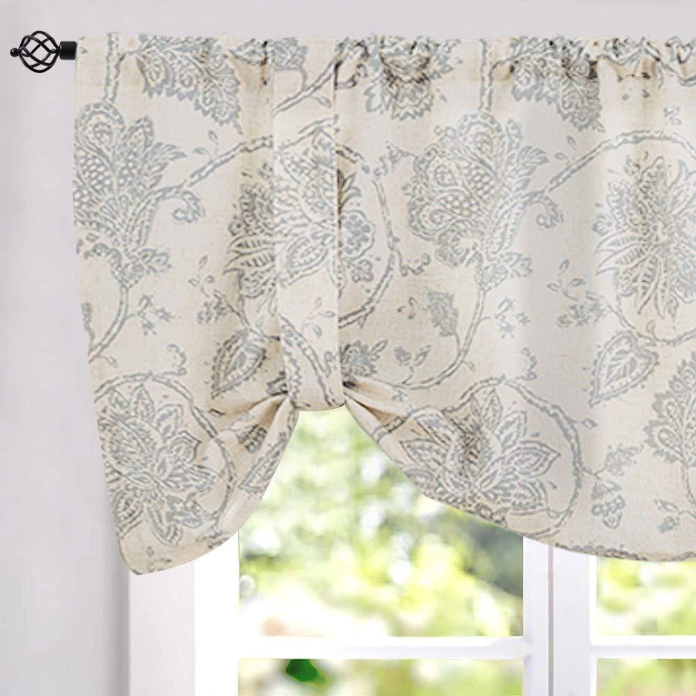 "jinchan Floral Printed Tie-up Valance 1 pc 20"" Grey"