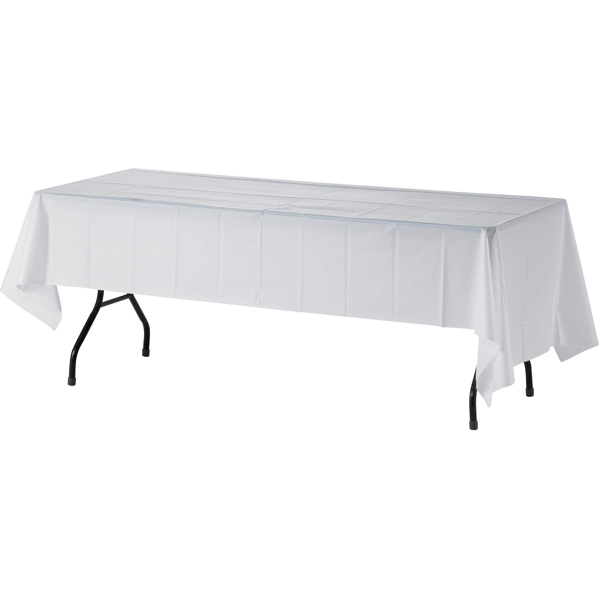 Genuine Joe 10328CT Plastic Rectangular Table Cover, 108'' x 54'', White