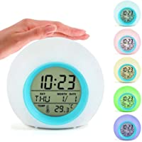 OWIKAR Alarm Clock Digital Temperature Calendar Display LED Colorful Night Light Wake Up Light with Nature Sounds, Better Gift for Adults, Kids, Toddlers, Teens for Bedroom
