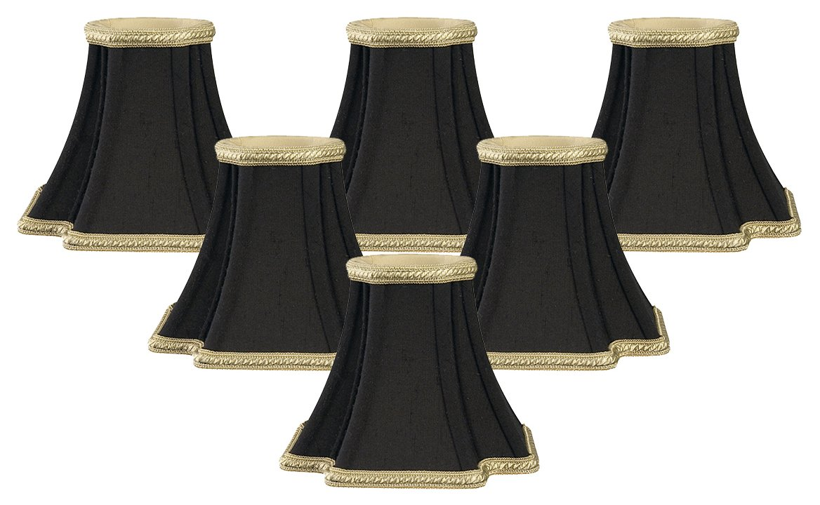 Royal Designs Decorative Trim Inverted Corners Chandelier Lamp Shade, Set of 6, 2.5 x 5 x 4.5 (CS-501BLK-6) by Royal Designs, Inc