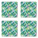 Ambesonne Leaf Coaster Set of Four, Summer Spring