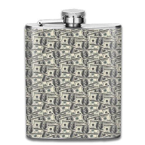 (Dollar Bills Texture Pocket Leak Proof Liquor Hip Flask Alcohol Flagon 304 Stainless Steel 7OZ Gift Box Outdoor)