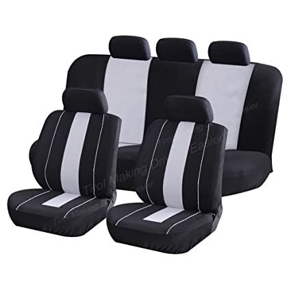 TIROL Seat Covers Universal Rear Split Full Set Blue Airbag Compatible Bucket Seat Cover 9PCS For Most Car,SUV,trucks