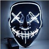 Alxcio Halloween la maschere Spaventoso EL Wire Cosplay Maschera, Led Light Up Maschera per il Costume di Halloween Christmas Party Si illuminano al Buio (Bianco)