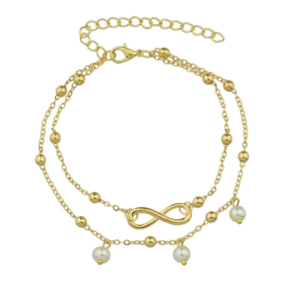 1 pc Boho Style Slave Gold Tone Silver Color Multi Layer Chain Simulated-pearl Beads Charm Anklets Feelnear