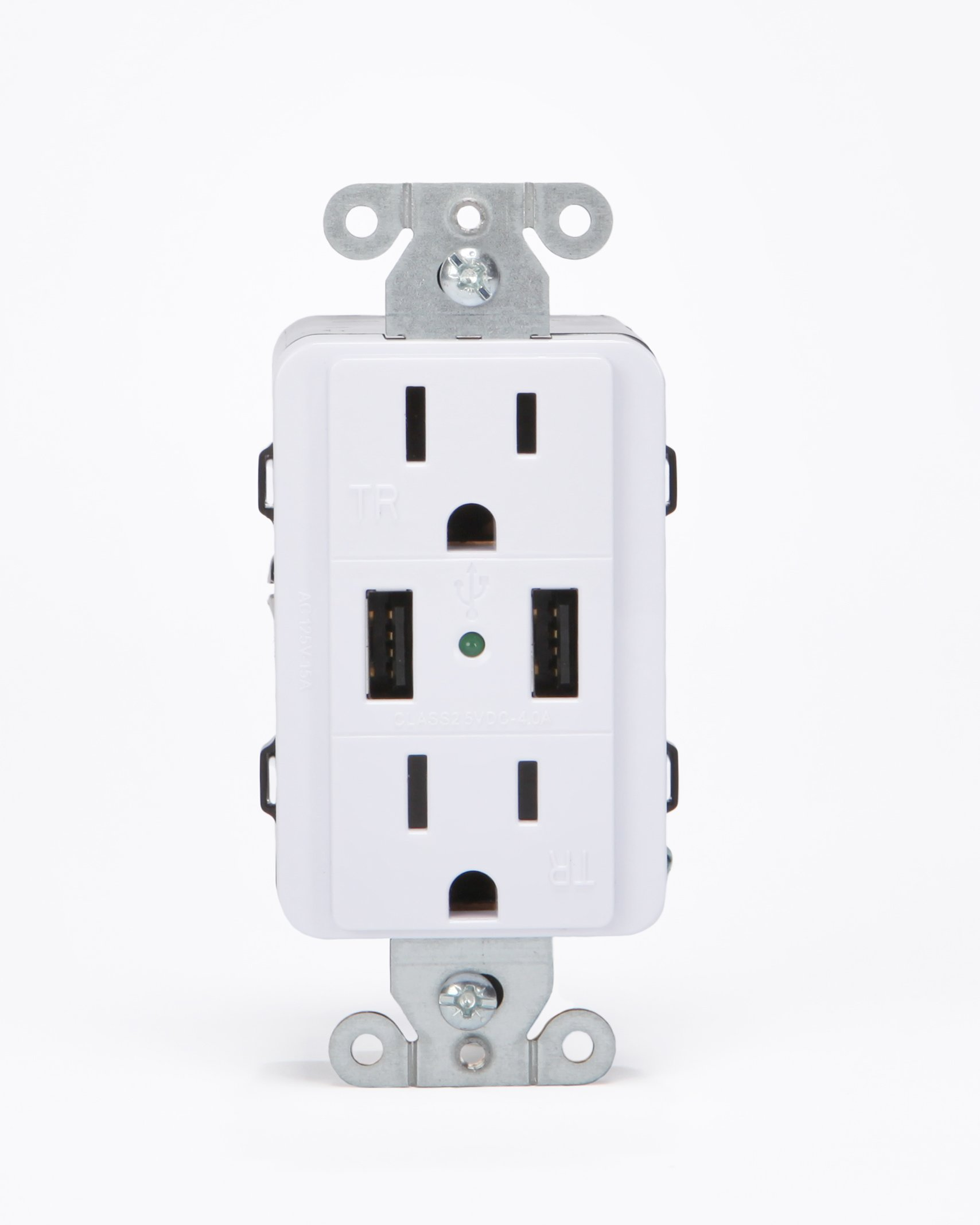 FastMac ACE-7702 U-Socket Decorator Duplex Dual Outlet Dual USB, 110V, 15AMP TruePower, White