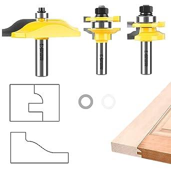 3PCS 1//2/'/' Shank Ogee Raised Panel Cabinet Wood Router Bits Set