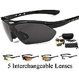 スポーツサングラス サングラス 偏光 メンズ・レディース用 交換レンズ5枚付き