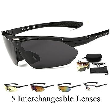 Gafas de Sol Polarizadas PlUIESOLEIL Con 5 lentes intercambiables Para Conducir Ciclismo Correr y Pesca