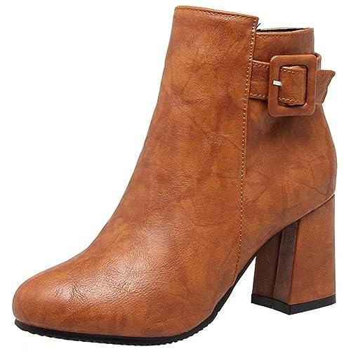 AIYOUMEI Damen Blockabsatz Klassischer Stiefeletten mit Schnalle und Reißverschluss Herbst Winter Stiefel Schuhe