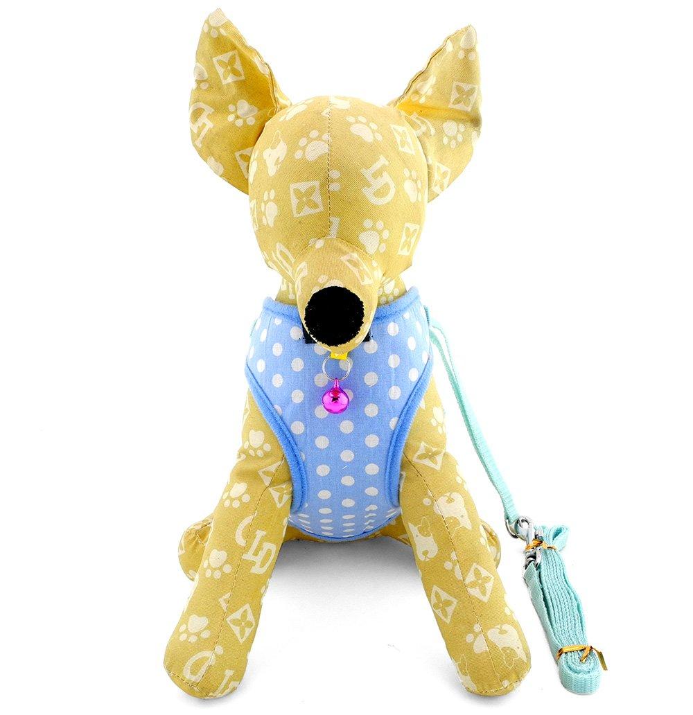 ZUNEA Small Dog Vest Harness and Leash Set Adjustable Mesh Padded Polka Dot Pet Puppy Cat Walking Strap Summer Doggie Apparel 12''-17'' Blue L