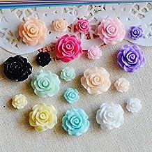 Resin Crafts Flower Flat back Cabochon Scrapbook Fit Embellishments Mixed Color Size Home Decor 50Pcs phone case