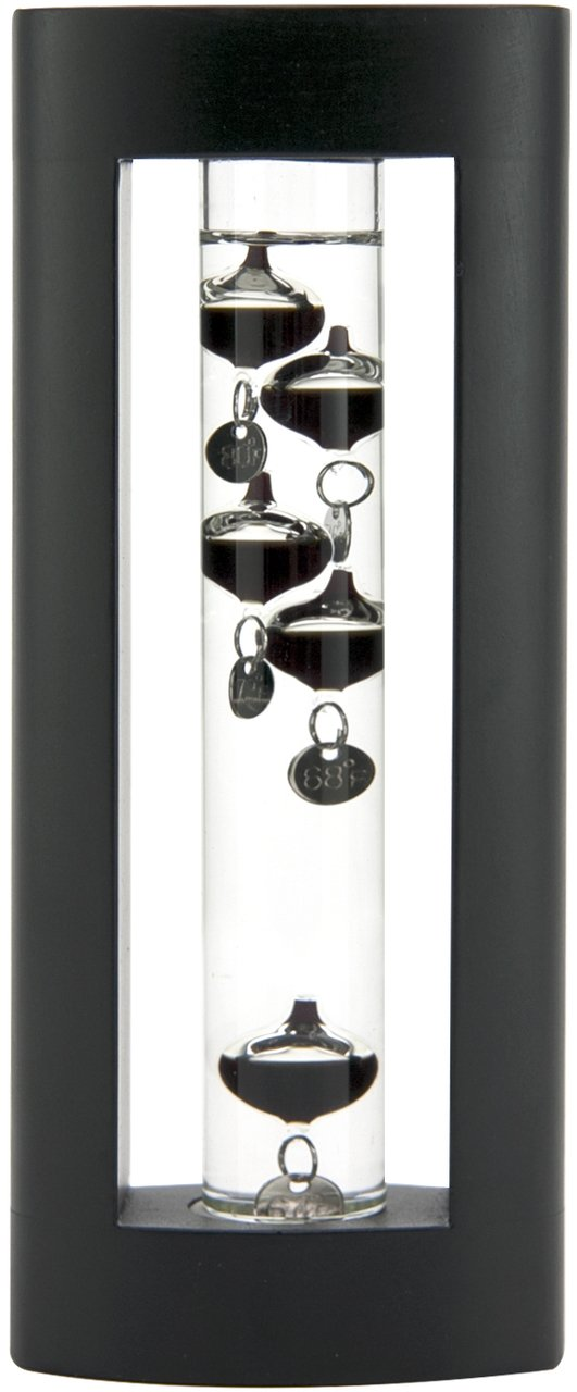 Global Village Glass Galileo Thermometer Black Wood 7''h