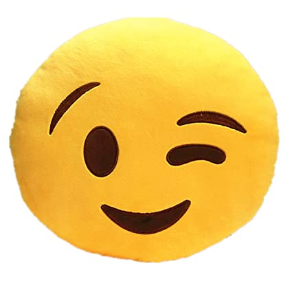 LI&HI 32cm Emoji Smiley Emoticon Yellow Round Cushion Pillow Stuffed Plush Soft Toy-Independent Vacuum Packing (Wink)