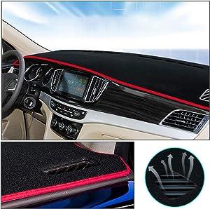 Muchkey Custom Car Dashboard Carpet for Volkswagen Passat 2011-2015 Nylon Material Anti-Reflective Sun Protection Dash Board Cover Mat Black Red