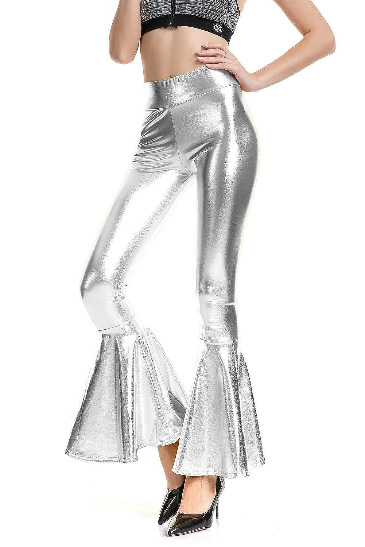 7803134a5f Haoohu Women's Metallic Shiny Slim Fit High Waist Bell Bottom Flare ...