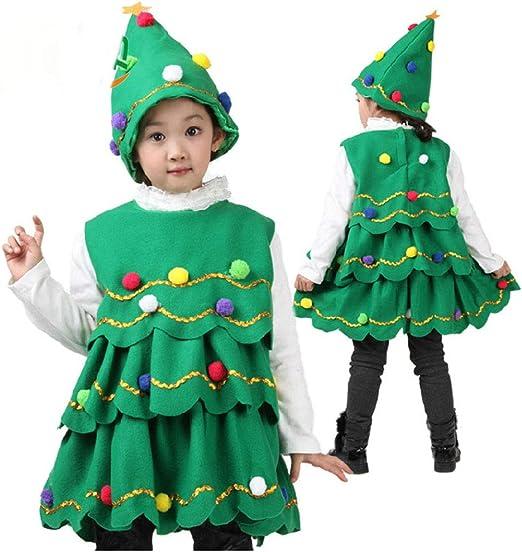 Lingqiqi Vestido de Navidad Disfraz de árbol de Navidad para niña ...