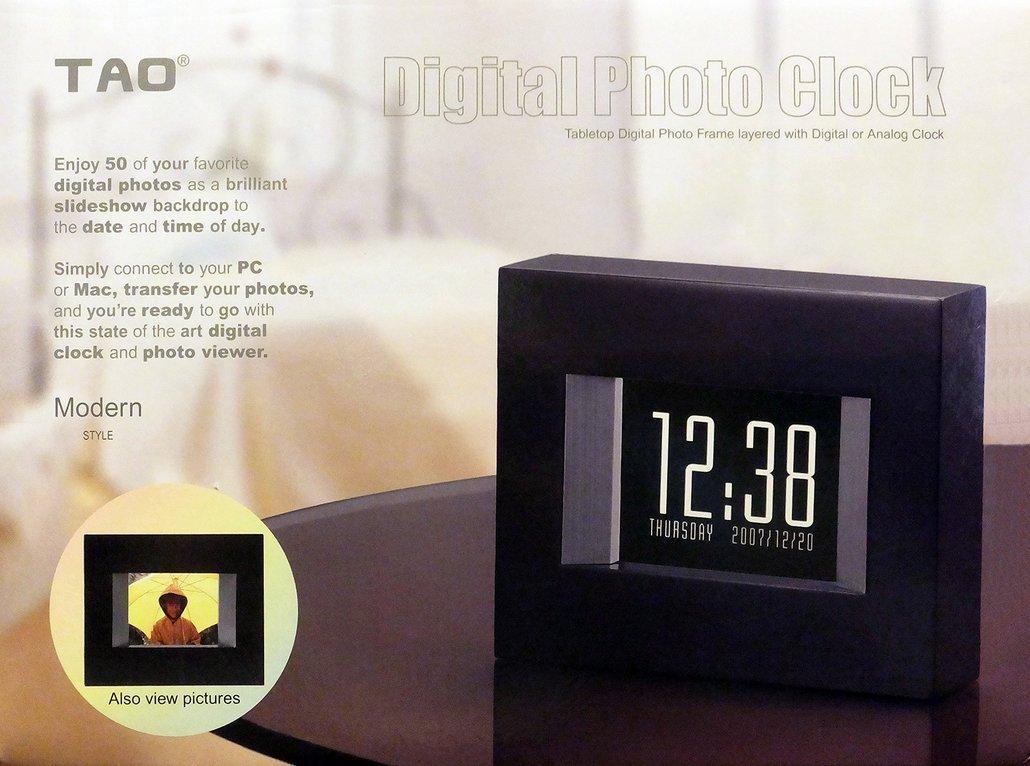 amazoncom  tao  modern digital photo clock (black  - amazoncom  tao  modern digital photo clock (black)  electronicalarm clocks  camera  photo