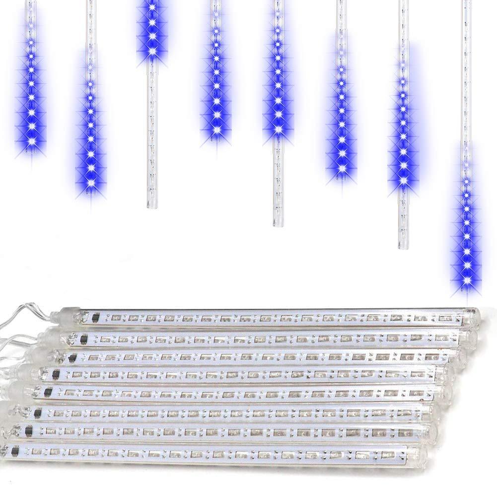 AveyLum LED Lichterketten Meteorschauer Regen Lichter 30cm 8 Röhre Schnee Fallen Regentropfen Cascading Licht Weihnachtsbeleuchtung, Blau