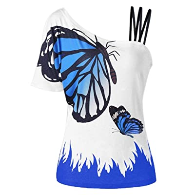 COOlCCI〓Women Summer Butterfly_Printing One Shoulder Strappy Cold Shoulder T-Shirt Cold Shoulder Casual Tops Blouse Blue: Clothing