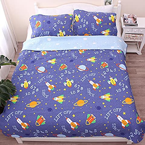 Space & Planet & Rocket Baby Bedding Coverlet Quilt Bedspread Throw Blanket for Kid's Girl & Boys Bed Gift 100% Natural Cotton Twin (59