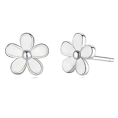 35ac14048 925 Sterling Silver Flower Stud Earrings White Daisy Enamel Stud Earrings  Jewellery Gift for Women Girls: Amazon.co.uk: Jewellery