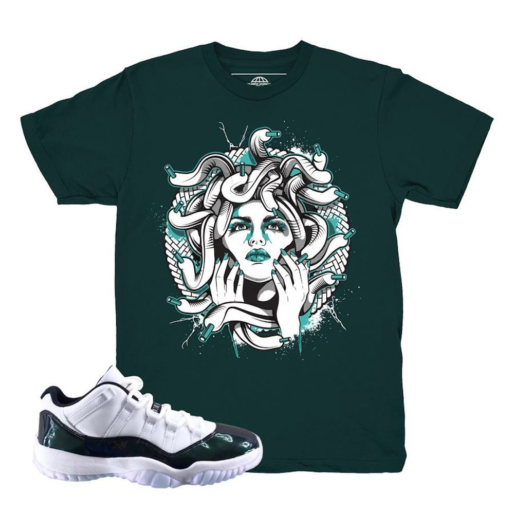 f180bbfefc8f Amazon.com  Kickset Easter 11 Low Medusa Emerald T-Shirt To Match Jordan 11  Low Easter Sneakers  Clothing