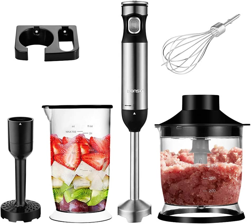 BONSO Immersion Hand Blender 5-in-1 12-Speed Multi Purpose Handheld Electric Stick Blender w/BPA-Free Food Grinder, Mixing Beaker & Mixing Attachments for Soups, Sauces, Baby Food