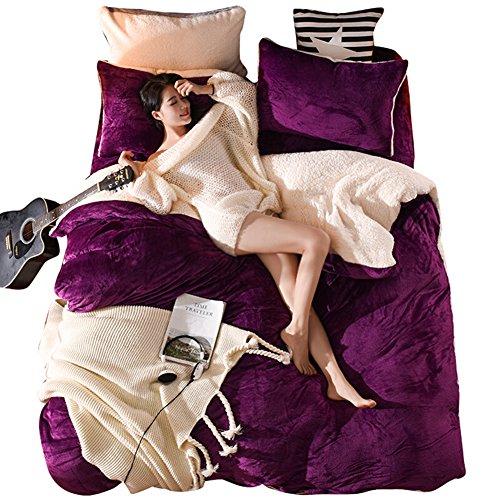 ilt Flannel Lamb Duvet Cover Sheet Pillow Case Bedding Set (Dark Purple, King) ()