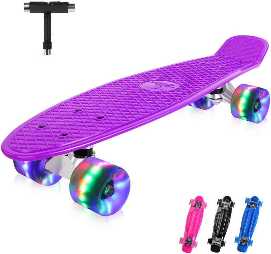 BELEEV Skateboard Complete Mini Cruiser Retro Skateboard for Kids Teens Adults / UK