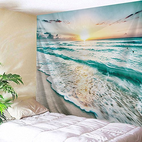 UHUSE Seaside Tapestry Wall Hanging, Dusk Beach Ocean Sunset View Sea Wave, Living Room Bedroom Dorm Decor Bed Headboard Tapestries (Coastal Art View Wall)