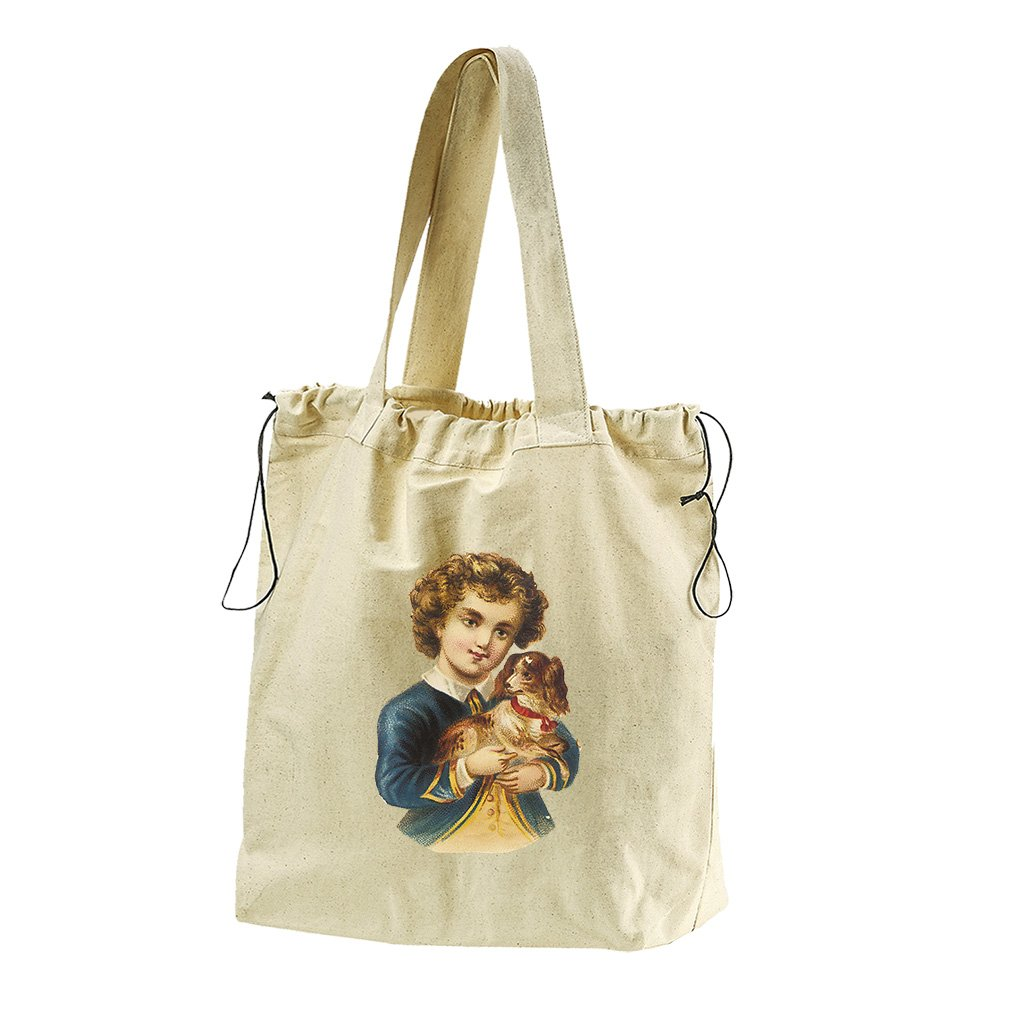 Boy In Navy Jacket With Puppy Animals Canvas Drawstring Beach Tote Bag by Style in Print