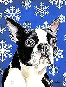 Caroline's Treasures SC9360CHF Boston Terrier Winter Snowflakes Holiday Flag Canvas, Large, Multicolor