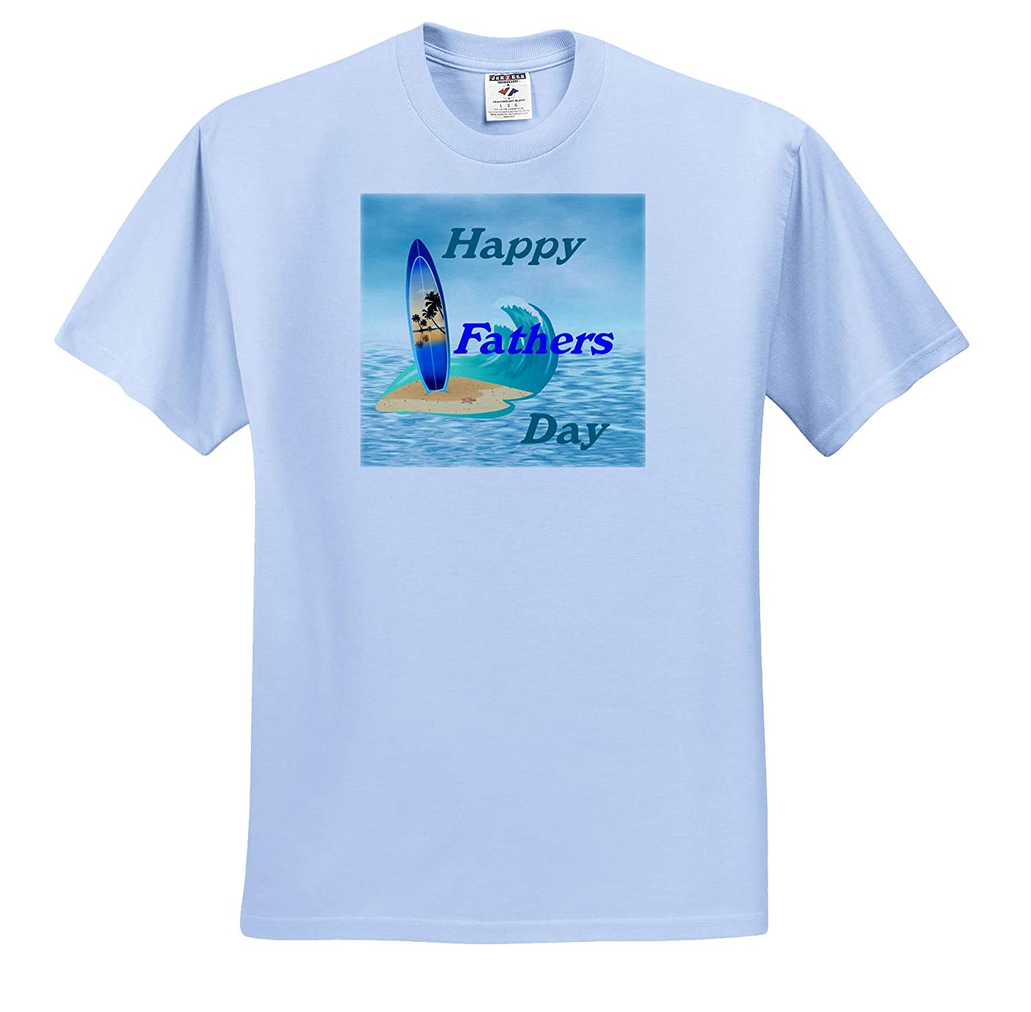Image of Happy Fathers Day with Surfboard On Sea Adult T-Shirt XL Fathers Day ts/_310644 3dRose Lens Art by Florene