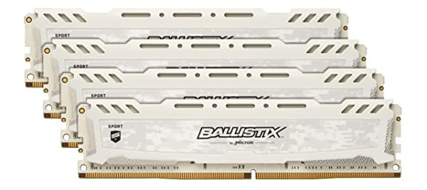 Ballistix Sport LT 64GB Kit (16GBx4) DDR4 3000 MT/s (PC4-24000) CL15 DR x8 DIMM 288-Pin Memory - BLS4K16G4D30AESC (White) (Color: White, Tamaño: 64GB Kit (16GBx4) DR)