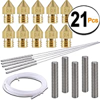 SIQUK 10pcs 0.4mm MK8 Brass Extruder Nozzle Print Heads and 5pcs Cleaning Needles 0.4mm Drill Bits with 2M PTFE Teflon Tube use for MK8 Makerbot Reprap 3D Printers (Bonus: 5pcs Nozzle Throat) from SIQUK
