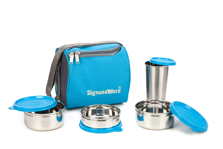 Signoraware Best Steel Lunch Box, Blue (500Ml+350Ml+200Ml)  