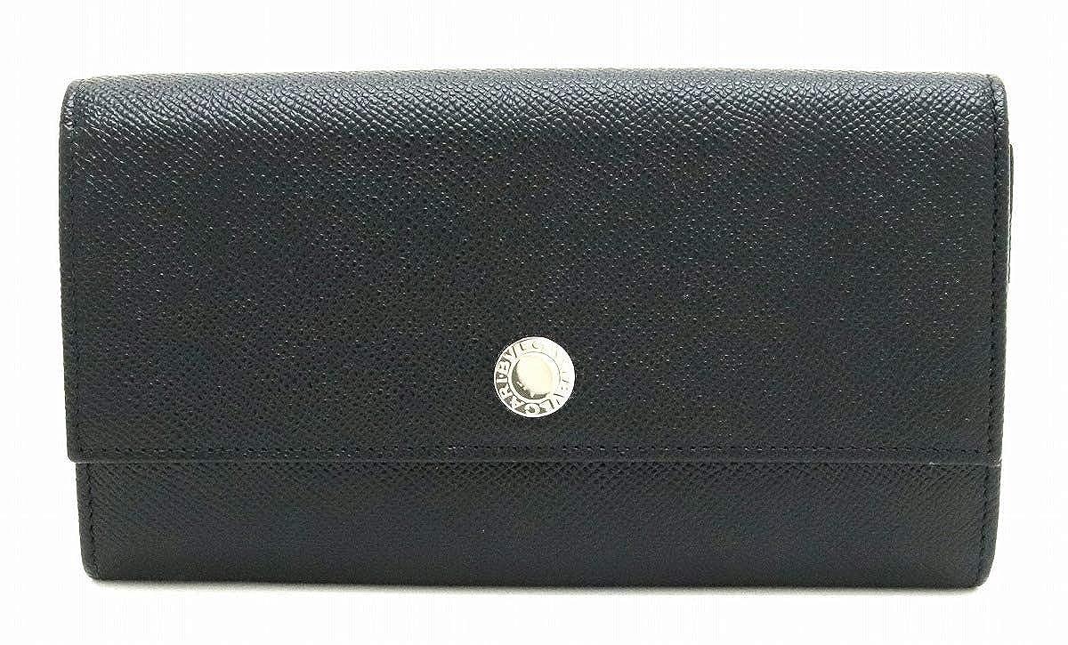 [ブルガリ] BVLGARI クラシコ グレインレザー 2つ折 長財布 黒 ブラック シルバー金具 27749 [中古] B07SLRS6QN
