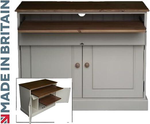 100% escritorio de madera, pintada en blanco y encerado seleccione su color en el, oculta oficina, cocina plegable escritorio, secreter. Sin se pliega, No require montaje (ws2d24): Amazon.es: Hogar
