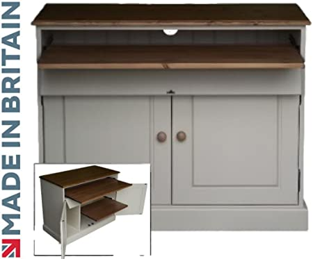 office bureau desk. 100% Solid Wood Desk, White Painted \u0026 Waxed Drop Down, Hidden Home Office Bureau Desk L