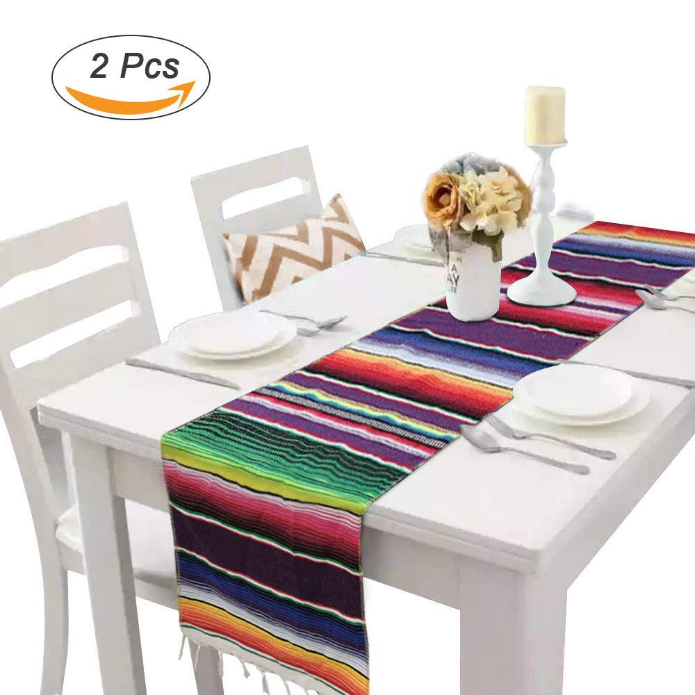 Morinostation 2 Pack 14 by 84 Inch Mexican Serape Table Runner Colorful Cotton Fringe Blanket for Mexican Party Outdoor Wedding Kitchen Decorations