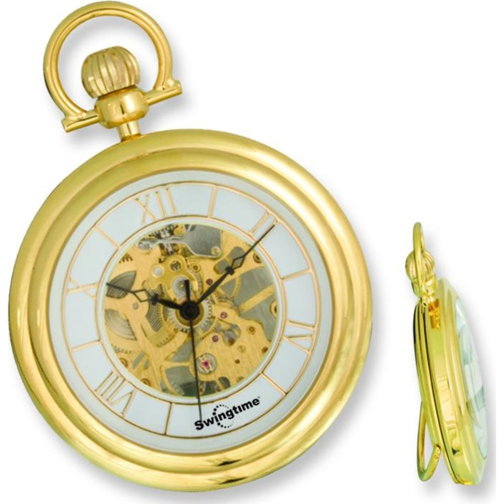 Swingtime Gold Plated 17 Jewel Pocket Watch & Chain