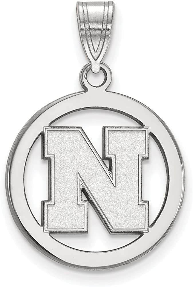 25mm x 18mm Solid 925 Sterling Silver Official University of Nebraska Small Pendant Charm in Circle