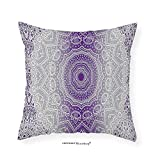 VROSELV Custom Cotton Linen Pillowcase Grey and Purple Ombre Mandala Eastern Religious Art with Deity Art Holy Cosmos Design for Bedroom Living Room Dorm Violet 22''x22''