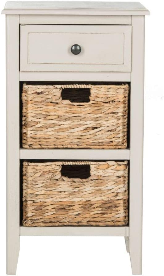 Safavieh Home Collection Everly Drawer Vintage Grey 1-Drawer 2 Removable Baskets Side Table