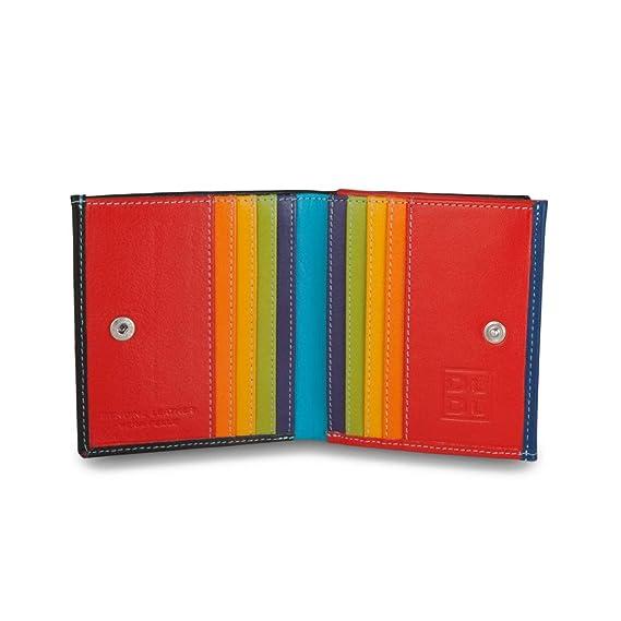 Cartera de Piel Multicolor Tarjetero y Monedero de DUDU Negro
